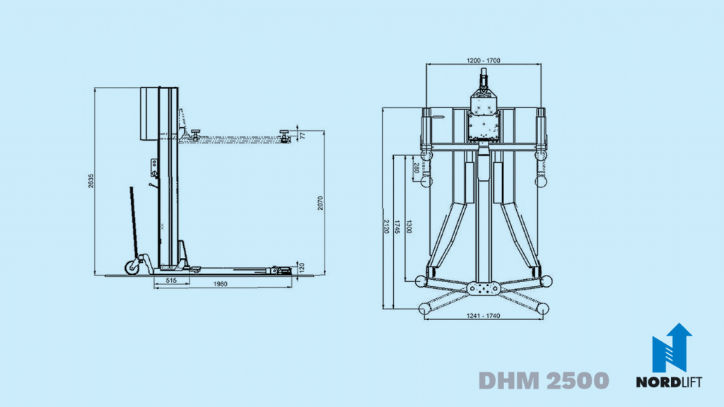 Nordlift dhm 2500 dimension drawing 136
