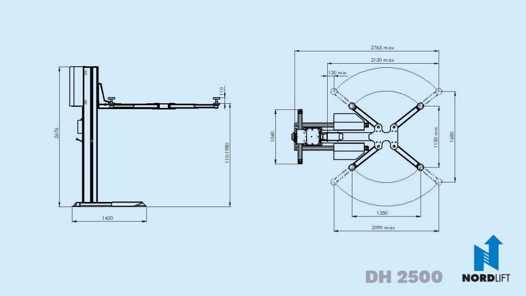 Nordlift yksipilarinostimet dh2500 mittapiirros 57